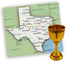 Texas map and Kiddush cup